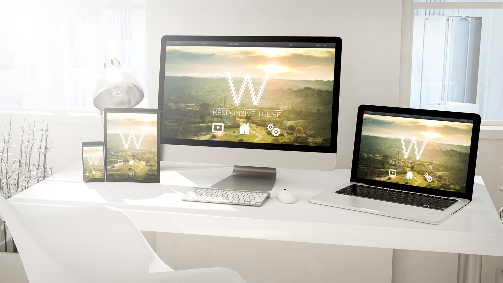 Monitor, laptop, tablet, phone with modern template on table in desktop office. 3d rendering.